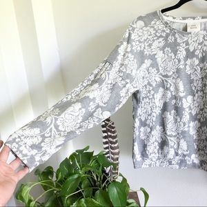 Knox Rose Sweaters - KNOX ROSE gray and white floral print sweater